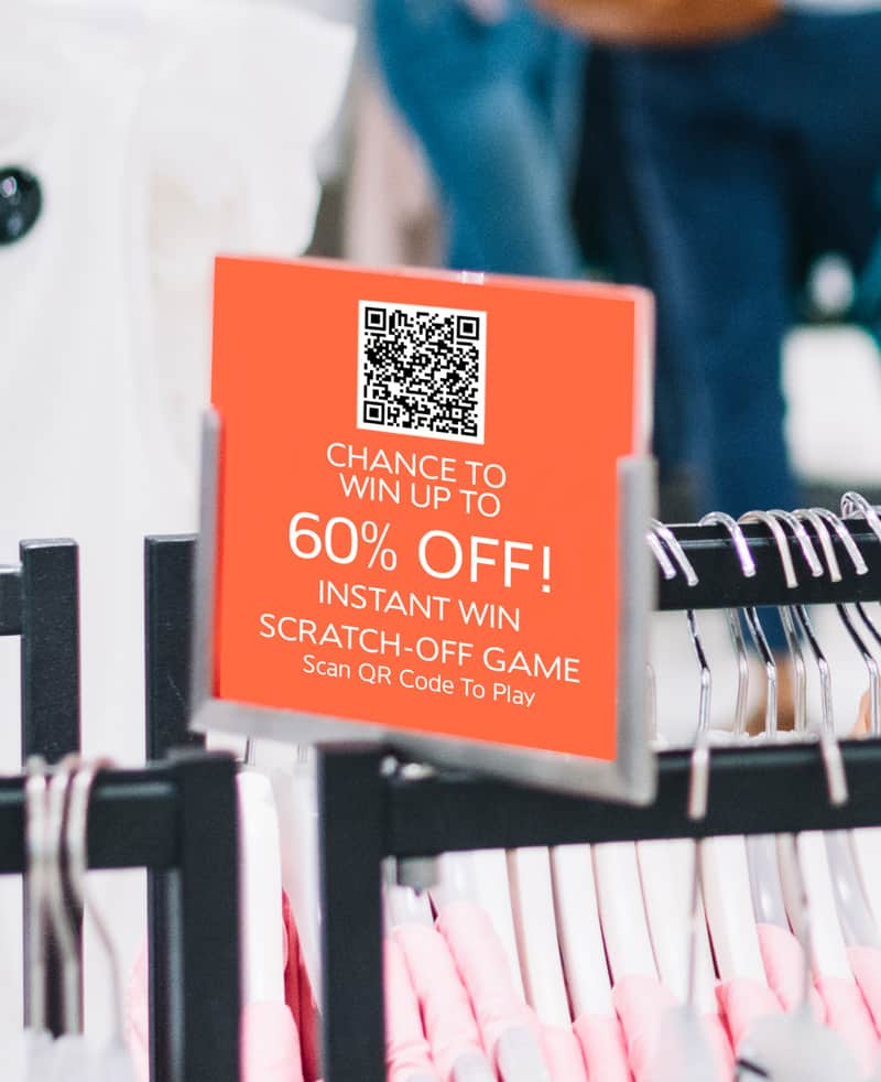 QR code used to scan to get to scratch-off game on mobile phone