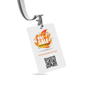 Promote game with QR code on lanyards for store associates to wear in store