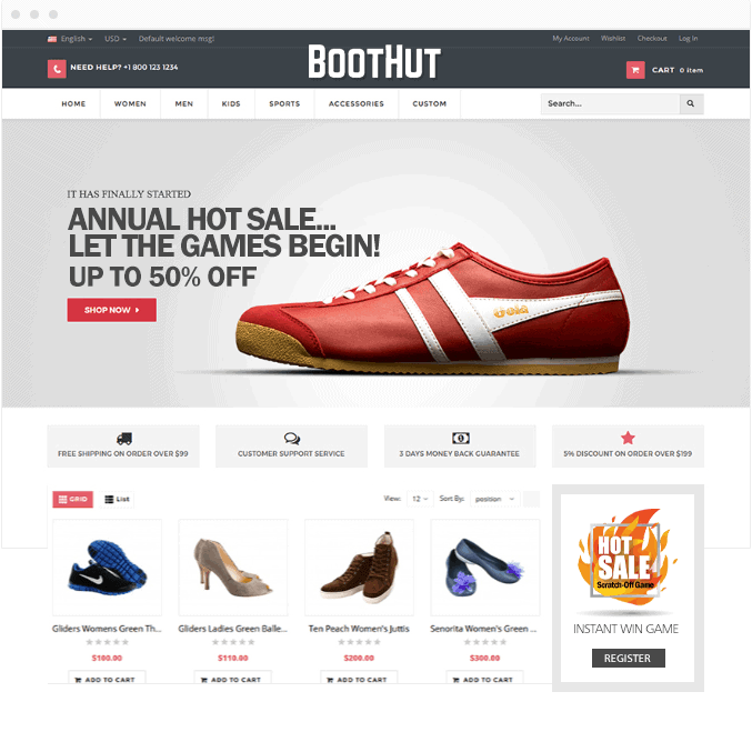 Website homepage promoting the Hot Sale! Scratch-Off Game