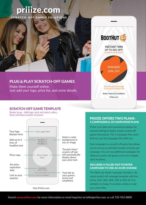 priiize plug-and-play scratch-off games generator - brochure download