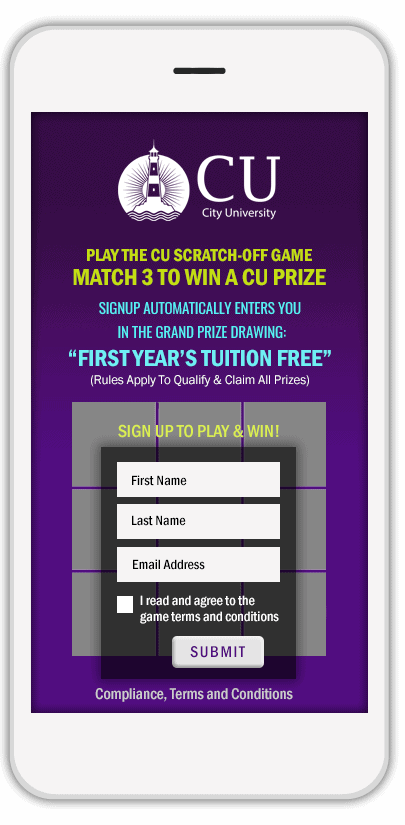 """First Year's Tuition Free"" University Scratch-Off Game"