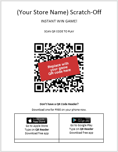 QR Poster Template - use this to create your QR Reader poster for customers to play your scratch-off games.
