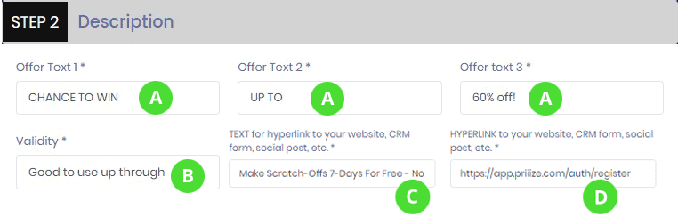 STEP 2 - Add custom DESCRIPTION and HYPERLINK to your CRM landing page to collect players contact information data