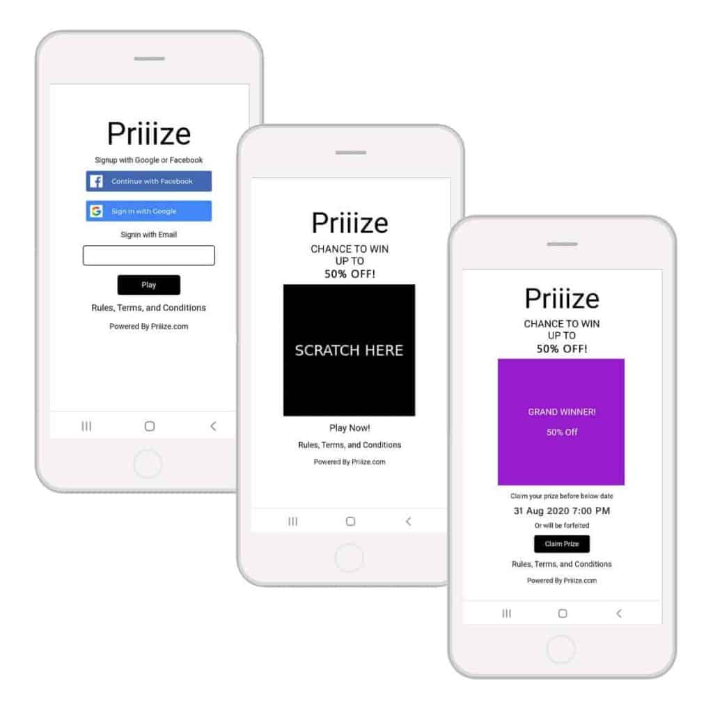 Priiize Virtual Scratch-off Card Template + Opt-In to Play Forms