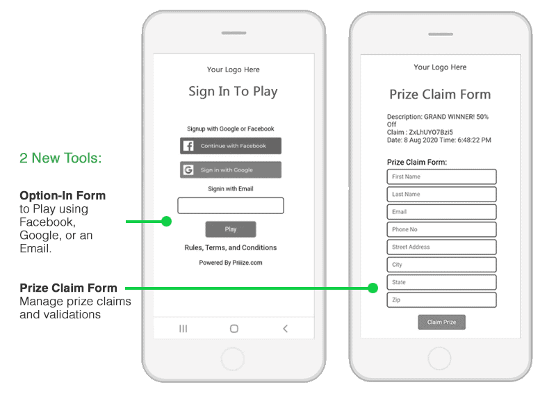 Marketing Opt-In & Prize Claim Forms