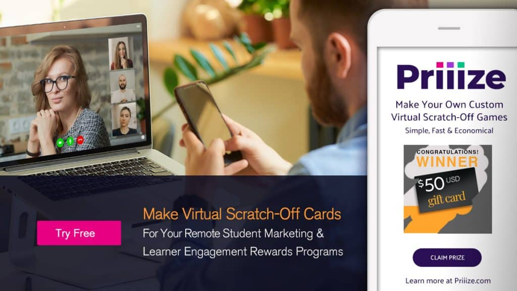student learner engagements virtual scratch-off cards for remote learning rewards