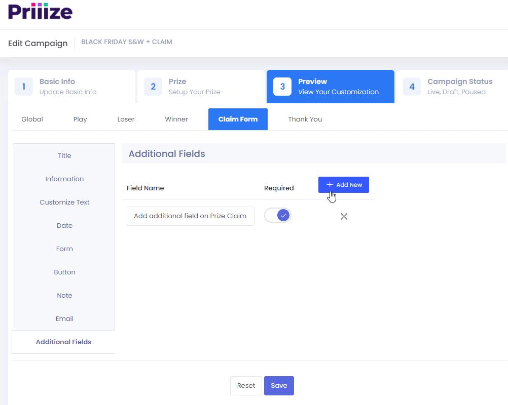 Add additional field on Prize Claim