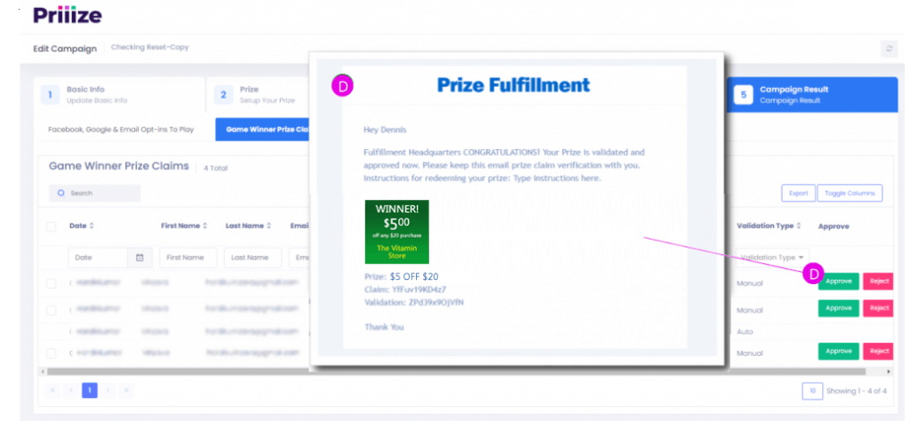 EMAIL NOTIFIERS for Prize Claims - instructions