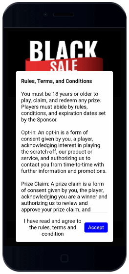 """Agree to Rules, Terms and Conditions set to """"Mandatory"""" in order to proceed and play scratch-off game."""