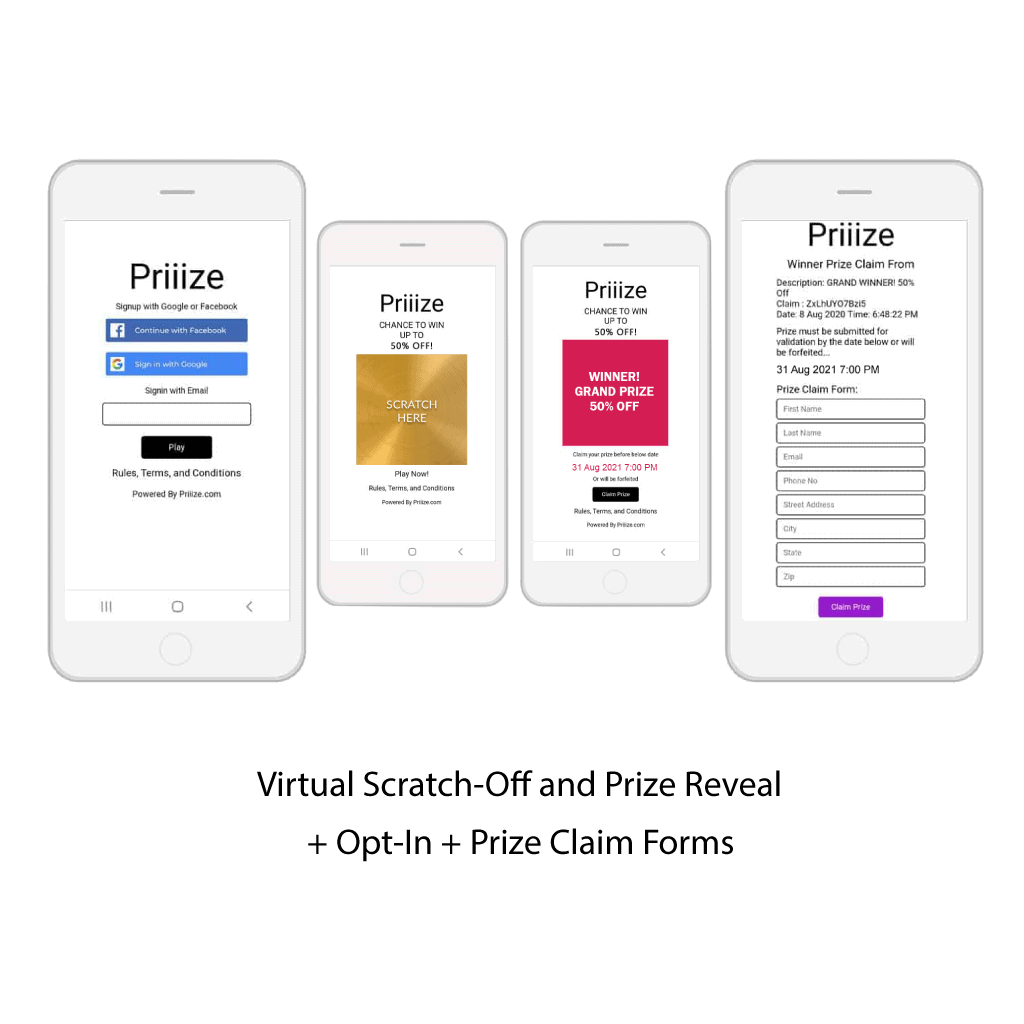 Virtual Scratch-Off Cards + Opt-In + Prize Claims for players to sign in with Facebook, Google, or Email to play, and for winners to fill out a Prize Claim Form.