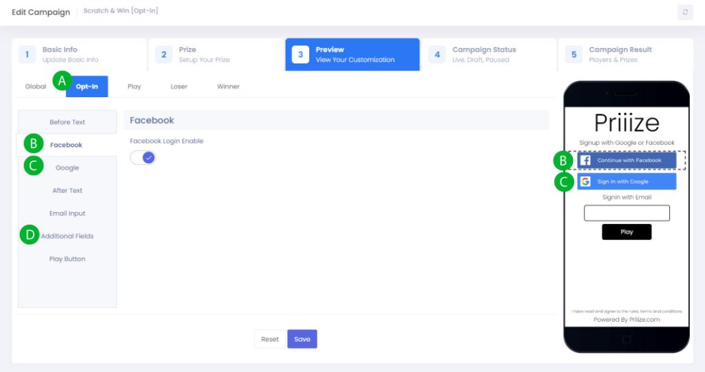 Facebook, Google, and Custom Field Options