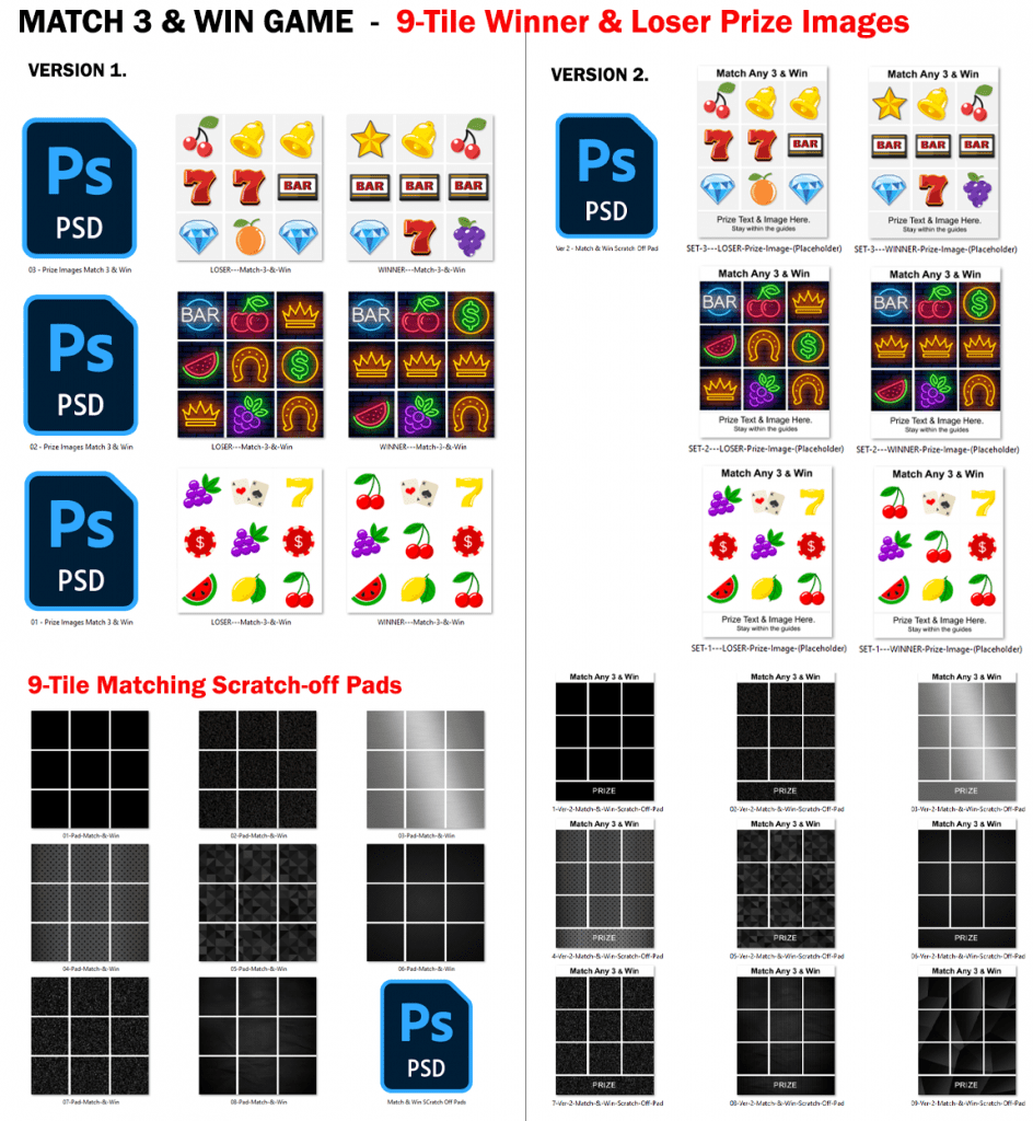 """28 """"Match 3 & Win"""" Scratch-Off Game Images with Layered Photoshop Files - Free Download"""
