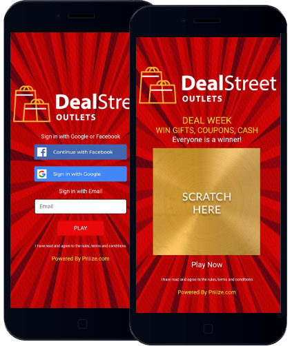 Dealstreet demo game features the Scratch & Win + Opt-In + Prize Claim Template.