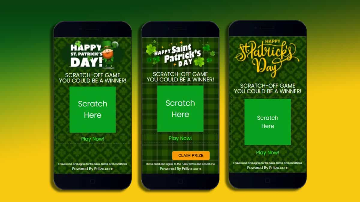 St. Patrick Day Celebration Digital Scratch-Off Cards at Priiize