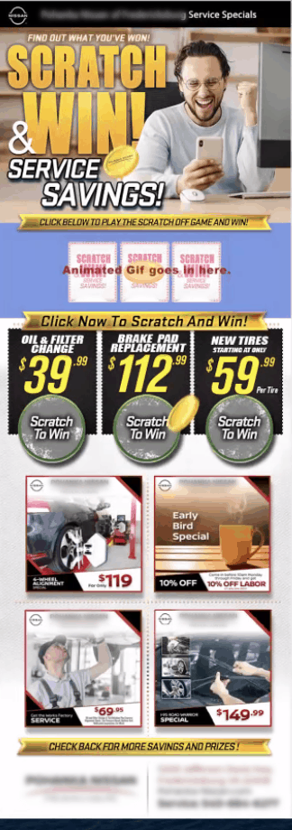 The way one Auto Dealership promotes digital scratch-off games for service department coupons and deals.
