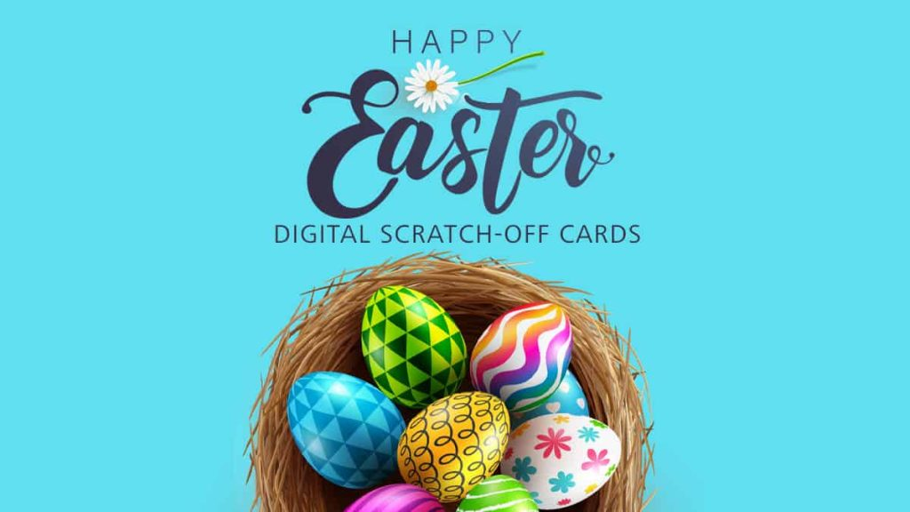 """Make """"Happy Easter"""" Virtual Scratch-Off Cards. Engage your audience with a memorable Holiday Scratch-Off Game Promotion!"""