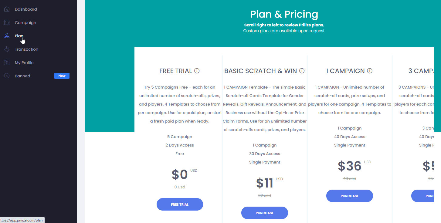 """To purchase a plan click the """"Plan"""" link on the vertical menu."""