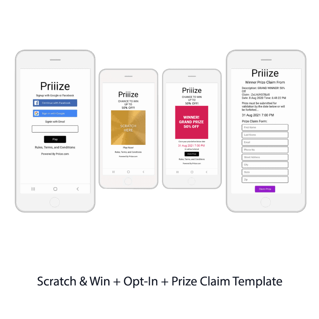 Scratch & Win + Opt-In + Prize Claim Template