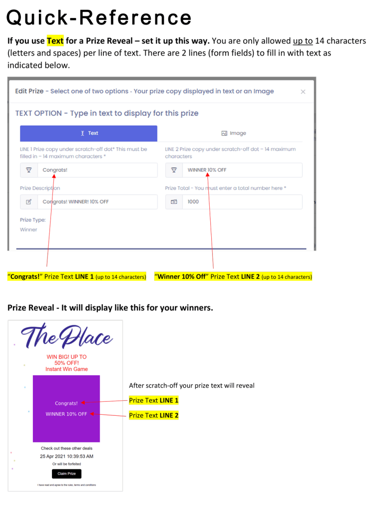 Setting up a Prize as Text Instructions