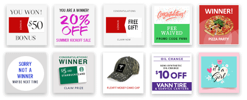 You determine and control the prizes and messages on your scratch-off campaign