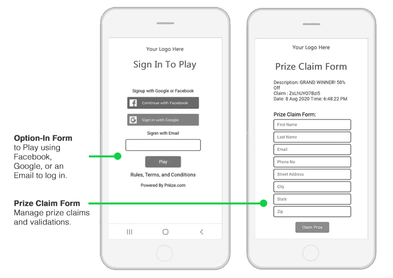 Two optional add-on forms for your campaign are available