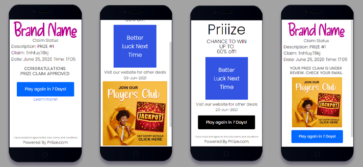 Call to action options for prize winners and losers